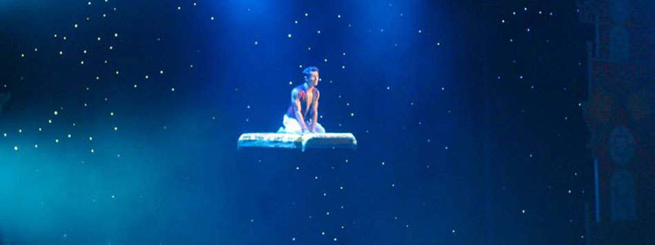 Aladdin's flying carpet illusion